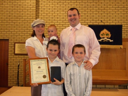 Dylan Stewart, a pupil of Coleraine Free Presbyterian Church Sabbath School, successfully answered every question in the Child's Catechism.  To mark this achievement he was presented with a certificate, Bible and a gift of £25.